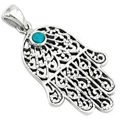 925 silver fine green turquoise enamel hand of god hamsa pendant jewelry c10928