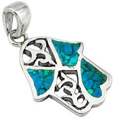 Fine green turquoise enamel 925 silver hand of god hamsa pendant c10959