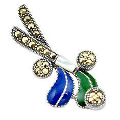 925 silver fine marcasite enamel hockey stick charm pendant jewelry c21824