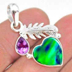 silver 3.98cts fine northern lights aurora opal (lab) amethyst pendant t34429