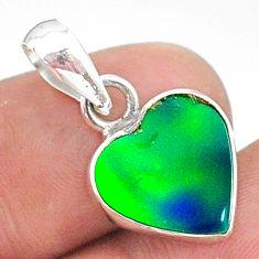 3.04cts fine northern lights aurora opal (lab) heart shape pendant t34404