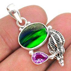 925 silver 4.47cts fine northern lights aurora opal (lab) snail pendant t34491