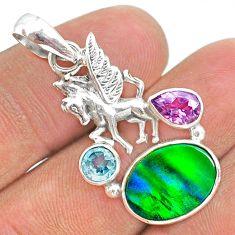 4.68cts fine northern lights aurora opal (lab) topaz unicorn pendant t34425