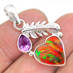 silver 3.83cts fine volcano aurora opal (lab) amethyst feather pendant t34464
