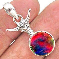 silver 3.83cts fine volcano aurora opal (lab) bull face pendant jewelry t34448