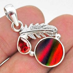 silver 3.82cts fine volcano aurora opal (lab) red garnet feather pendant t34459