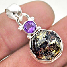 925 silver 6.97cts golden pyrite in magnetite hexagon amethyst pendant t46460