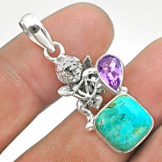 925 silver 6.31cts green arizona mohave turquoise amethyst angel pendant t51298
