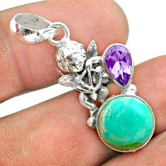 925 silver 6.03cts green arizona mohave turquoise amethyst angel pendant t51314