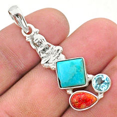 925 silver 6.94cts green arizona mohave turquoise buddha charm pendant t38406