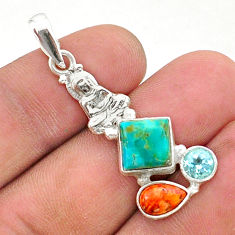 925 silver 7.26cts green arizona mohave turquoise buddha charm pendant t38413