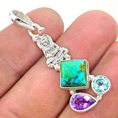 925 silver 6.61cts green arizona mohave turquoise buddha charm pendant t38416