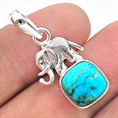 925 silver 5.22cts green arizona mohave turquoise elephant pendant t38438