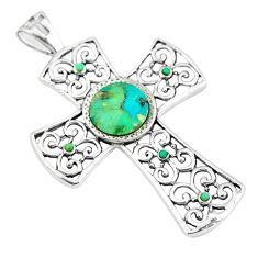 925 silver 4.21cts green arizona mohave turquoise holy cross pendant c10764