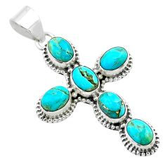 925 silver 9.39cts green arizona mohave turquoise holy cross pendant t53099