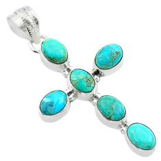 925 silver 8.73cts green arizona mohave turquoise oval holy cross pendant t53091