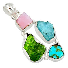 925 silver 16.06cts green chrome diopside rough pink opal fancy pendant r26855