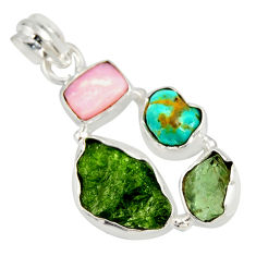 925 silver 13.15cts green chrome diopside rough pink opal pendant r26844