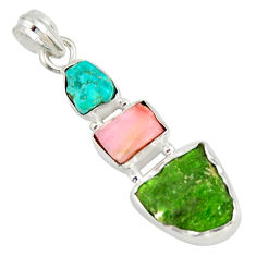 925 silver 12.62cts green chrome diopside rough pink opal pendant r26847