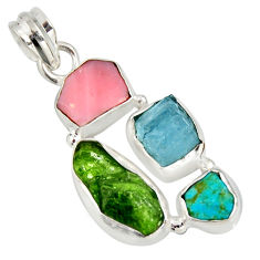 925 silver 13.15cts green chrome diopside rough pink opal pendant r26852
