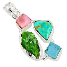 925 silver 14.50cts green chrome diopside rough pink opal pendant r26858