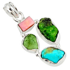 925 silver 13.66cts green chrome diopside rough tourmaline rough pendant r26860
