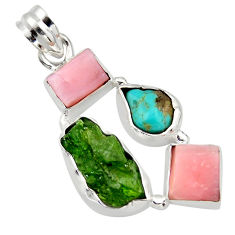 925 silver 15.08cts green chrome diopside rough turquoise tibetan pendant r40330