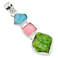 925 silver 15.65cts green chrome diopside rough turquoise tibetan pendant r40338