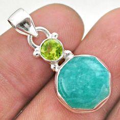 925 silver 6.21cts green peruvian amazonite hexagon peridot pendant t46468