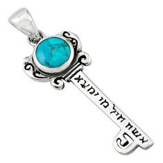 925 silver green turquoise tibetan enamel jewelexi key pendant c10911