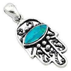 Green turquoise tibetan 925 silver hand of god hamsa pendant c10931