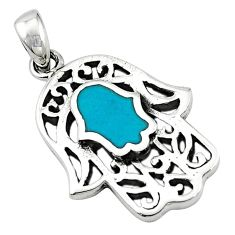 Green turquoise tibetan 925 silver hand of god hamsa pendant jewelry c10926