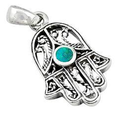 925 silver green turquoise tibetan hand of god hamsa pendant jewelry c10945