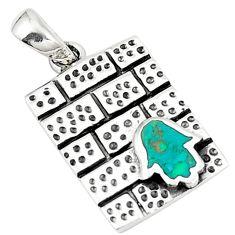 925 silver green turquoise tibetan hand of god hamsa pendant jewelry c10983