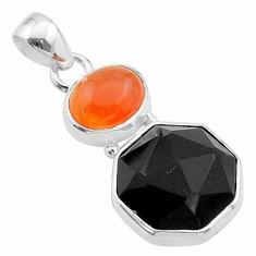 925 silver 12.58cts halloween natural onyx cornelian hexagon pendant t57856