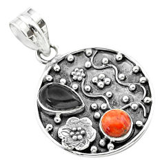 925 silver 3.68cts halloween natural onyx red sponge coral flower pendant t57504