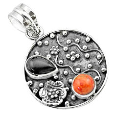 925 silver 3.51cts halloween natural onyx red sponge coral flower pendant t57507
