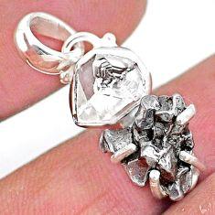 925 silver herkimer diamond campo del cielo (meteorite) fancy pendant t10724