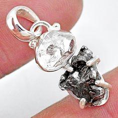 925 silver herkimer diamond campo del cielo (meteorite) fancy pendant t10732