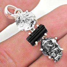 925 silver herkimer diamond campo del cielo tourmaline raw pendant t49385
