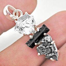 925 silver herkimer diamond campo del cielo tourmaline raw pendant t49389