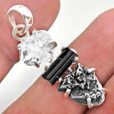 925 silver herkimer diamond campo del cielo tourmaline raw pendant t49397