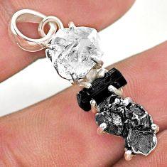 925 silver herkimer diamond campo del cielo tourmaline raw pendant t49400