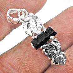 925 silver herkimer diamond campo del cielo tourmaline raw pendant t49419