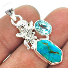 925 silver 7.50cts hexagon arizona mohave turquoise topaz angel pendant t55428