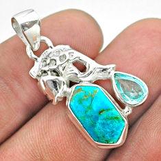 925 silver 7.04cts hexagon arizona mohave turquoise topaz fish pendant t55492
