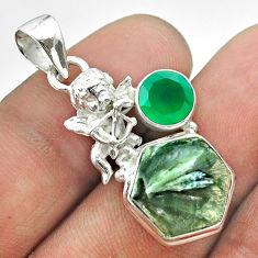 925 silver 8.77cts hexagon green seraphinite chalcedony angel pendant t55475