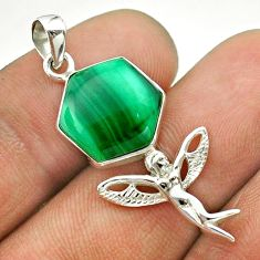 925 silver 6.22cts hexagon natural malachite angel wings fairy pendant t55320