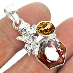 925 silver 7.82cts hexagon wild horse magnesite smoky topaz angel pendant t55439