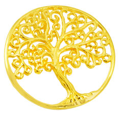 925 silver indonesian bali style solid 14k rose gold tree of life pendant c20470